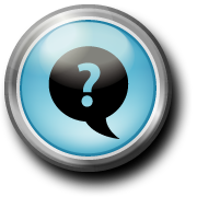 button with dialogue bubble and a question mark in the center