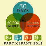 Participant badge for NaNoWriMo, November, 2012